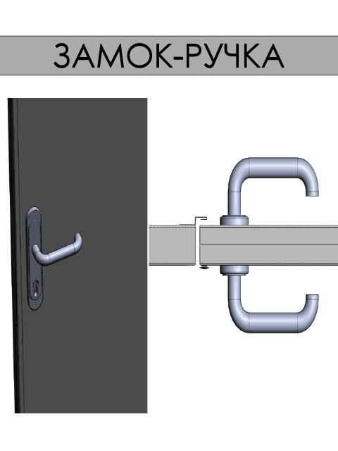 Индустриальные, сервисные и технические двери - замок-ручка