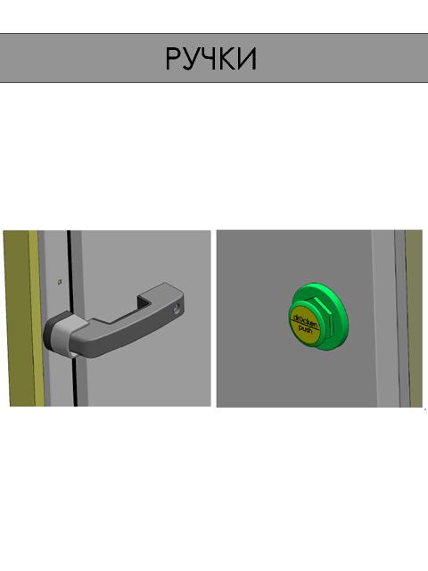 Одностворчатые распашные двери для холодильных и морозильных камер - ручки