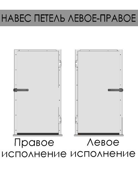 Одностворчатые распашные двери для холодильных и морозильных камер - навес петель